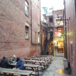 Angel Inn Yard, with its surprising beer garden.