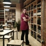 Emily peruses the extensive wine selection.