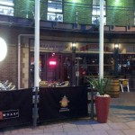 The massive beer garden opens out onto Brewery Place.