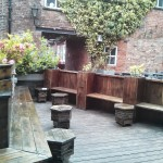 A lovely beer garden. The seats make it feel a bit sauna-like.