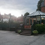 The conservatory bar and beer terrace.