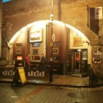 It's an arch. With a beer garden.