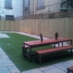 Here's the beer garden and a sneak peek of the mysterious yard.